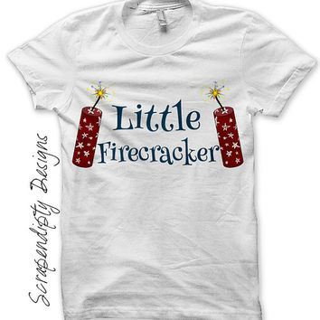 Iron on Firecracker Shirt PDF - Fourth of July Iron on Transfer / 4th of July Outfit / Boys Little Firecracker Tshirt / Custom Print IT436-C