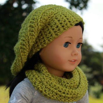frond green beret style crochet slouch hat with infinity scarf,  18 inch doll clothes American girl Maplelea