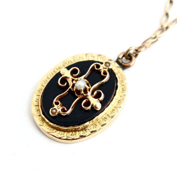 Antique Victorian Gold Filled Cross Necklace - Edwardian Onyx Black Glass and Seed Pearl Oval Pendant / Religious Jewelry