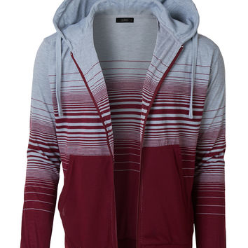 LE3NO Mens Lightweight Long Sleeve Casual Zip Up Striped Hoodie Sweatshirt Jacket