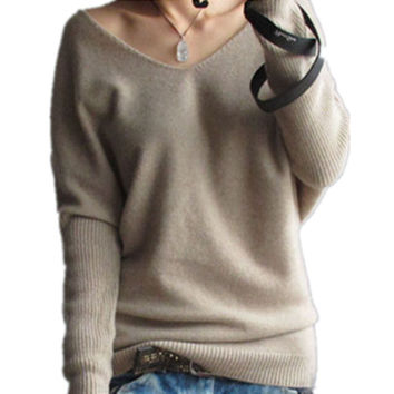 2016 autumn winter cashmere Shrug sweater Women fashion v-neck sweater loose long sleeve solid 100% wool sweater Brand Sweater20