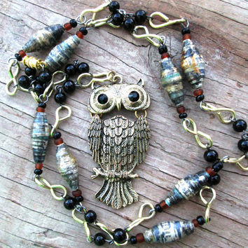 Boho Owl necklace - Eco-friendly jewelry - Nature inspired necklace - Paper bead jewelry - Long necklace - Upcycled, recycled, repurposed