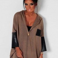 Wood Ridge Brown Hooded Slouch Jumper | Pink Boutique