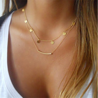 Simple Gold Coin Sequins Double Chain Necklace Charms Pendants & Necklaces Women Jewelry