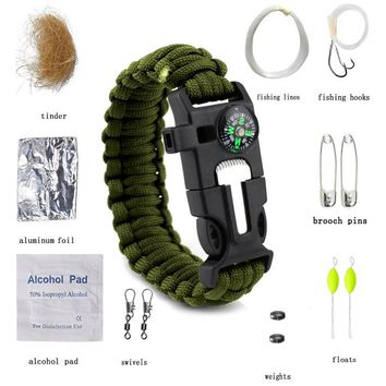 Outdoor Survival Bracelet Fishing Kit Men Women Braided Paracord Multi-function Camping Rescue Emergency Compass Whistle Knife