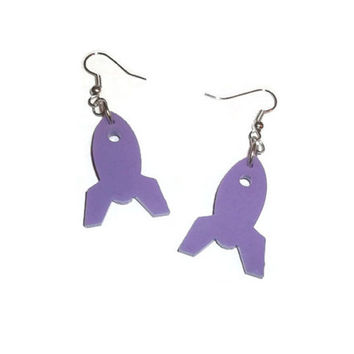 Rocket Ship Earrings, Pastel Lilac Lavender Dangle Earrings, Space Jewelry, Laser Cut Perspex, Kawaii