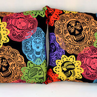 14 x 14 Papel Bonito Sugar Skulls and Polka Dots Pillow Set - Day of the Dead Home Decor : Sabbie's Purses and More