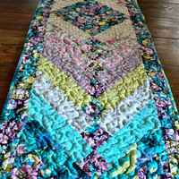 "Quilted French Braid Shabby Chic Table Runner / Topper / Bed Runner - Shades of Turquoise, Pink, Yellow, Purple - 15-1/2"" wide x 56"" long"