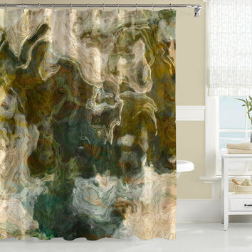 Contemporary Shower Curtain, Abstract Art, Olive, Khaki And Brow