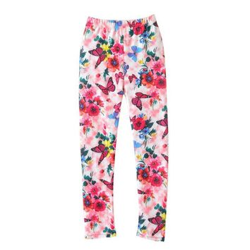 Bohemian  Spring Kids Baby Girls Leggings Kids Leggings Girls Butterfly Flower Print Leggings