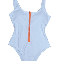 White Zipper Detail Backless One-piece Swimsuit