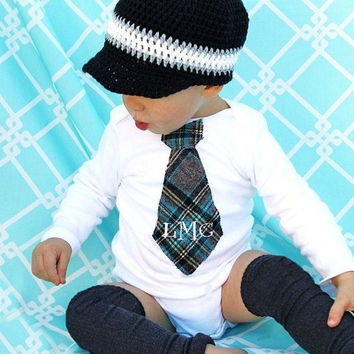 Baby Boy Christmas Holiday Personalized Tie Bodysuit. English Plaid Gray / Grey, Black, Navy, White, Aqua, and Teal. Tartan Scottish Plaid