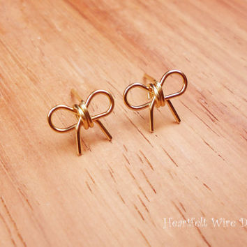 Bow Earring Studs14k Gold by heartfeltwiredesigns on Etsy
