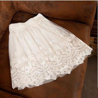 singlelady — Net yarn double half-length skirt lace dress