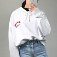 GUCCI : Champion flower rose print sweater grey hoodie pullover White