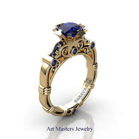 Art Masters Caravaggio 14K Yellow Gold 1.0 Ct Blue Sapphire Engagement Ring R623-14KYGBS