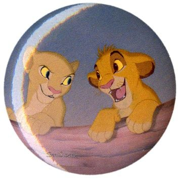 "Licensed cool NEW Disney LION KING Young SIMBA & NALA FRIENDS  1 1/4"" Button Pin Lanyard Charm"