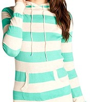 Women's Striped Long Sleeve Kangaroo Pocket Hoodie