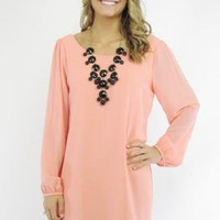 Coral Long Sleeve A-Line Dress with Scoop Neckline