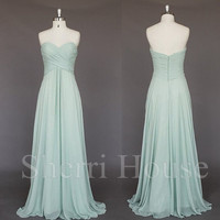 Fruit Green Sweetheart Strapless A-Line Long Bridesmaid Celebrity dress ,Floor length Chiffon Evening Party Prom Dress Homecoming Dress