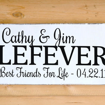 Family Name Sign Personalized Wedding Gift Couple Names Best Friends For Life Husband Wife Anniversary Christmas Gift