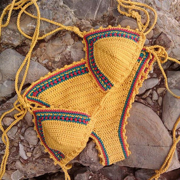 Yellow Swimsuits Handmade Crochet Knit Bikini