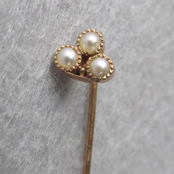 Tiny Antique Victorian Rolled Gold Seed Pearl Jabot Stick Pin