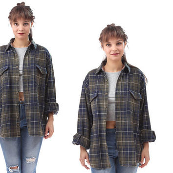 GREEN Plaid Flannel 80s Work Shirt Vintage Thick Soft Flannel Cotton Lumberjack Jacket White Navy Blue Checkered Tartan Plaid Shirt L XL