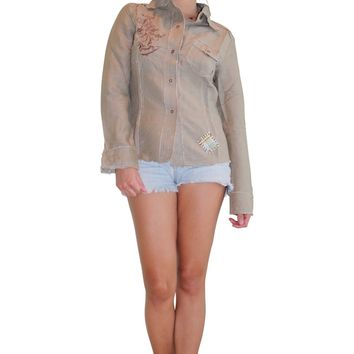 Long Sleeve Embroidered Button Down Western Shirt. Olive Green. (A-138)