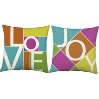 Love and Joy Throw Pillows - Color Block Pillow Covers with or without Cushion Inserts - Housewarming Gift, Home Decor, Mod, Word Pillows
