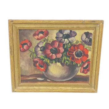 1940's Small Framed Floral Painting, 5 x 4 Frame, Signed Vintage Art, Still Life, Miniature Painting, Wall Hanging, Gallery Wall, Flowers