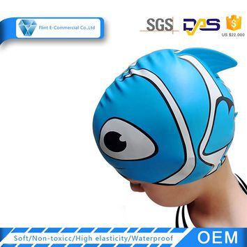 Cute Cartoon Animal Silicone Swim Hat for Kids