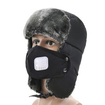 Winter Snow Skiing Hats Outdoor Windproof Sports Hats Mask Pilot Hat Warmer Ear Protection Snow Ski Cap With Breathing Valve