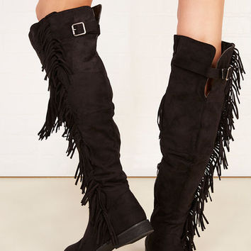 Fringe Faux Suede Knee-High Boots | Wet Seal