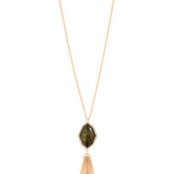 Stone Stronghold Gold and Green Tassel Necklace