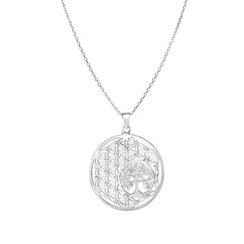Sterling Silver Tree Of Life Flower Pendant Necklace, 18""
