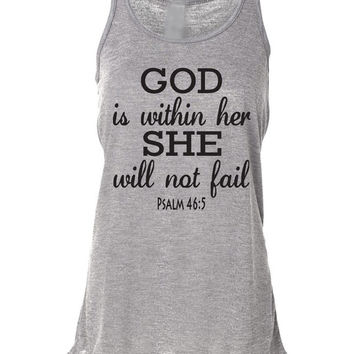 Running Tank Top Psalm 46:5 God Is Within Her. Workout Tank Top. Bella. Christian Clothing. Running Shirt. Marathon. Faith. Bible Verse.
