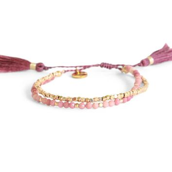 Pink Aventurine and Gold Wrap