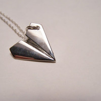 Paper Airplane Necklace by EmilinaBallerina on Etsy