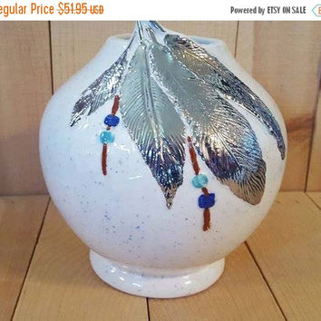 X-mas in July Sale Native-American-Ceramic-Vase-with-22kt-White-Gold-feathers,Blue Speckled Glaze, American Indian