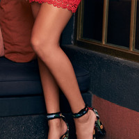 Flamenco Black Embroidered Ankle Strap Heels