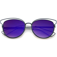Women's Metal Laser Cut Mirrored Flat Lens Sunglasses A319