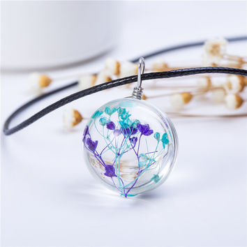 2016 Hot Fashion Crystal glass Ball  Necklace Long Strip Leather Chain Pendant Necklaces Women Lucky Wish Locket Jewelry