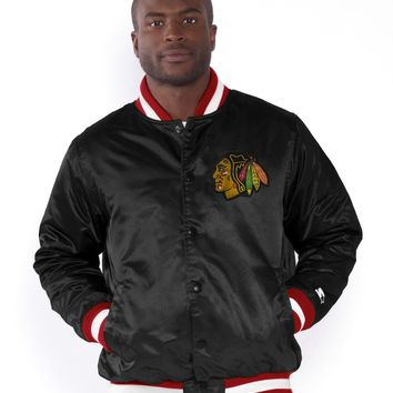 Chicago Blackhawks Satin Starter Jacket-Black