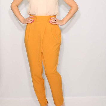 Mustard Yellow Harem Pants Wrap Pants Office Fashion