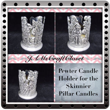 Pewter Candle Holder-Vintage-For Skinny Pillar Candles-Gift-Holiday Decor-Country Decor-Cottage Chic Decor-Unique-Christmas Decor-Santa