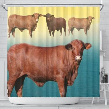 Santa Gertrudis cattle (Cow) Print Shower Curtain-Free Shipping