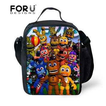 FORUDESIGNS Five Night at Freddy Cartoon Print Lunch Bag for Children Thermal Lunch Box Bag Women Picnic Bags for Food Meal Box