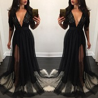 USA Womens Sequin Bridesmaid Formal Gown Ball Party Cocktail Evening Long Dress