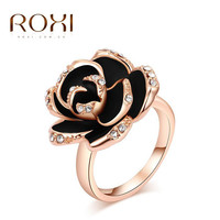 ROXI Ring For Women Black Rose Flower Genuine Austrian Crystals Rose Gold Plating Fashion Jewelry For New Year Christmas Gift